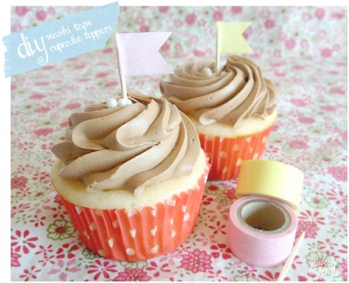 washi tape cupcake toppers (via sweetlavenderbakeshoppe)