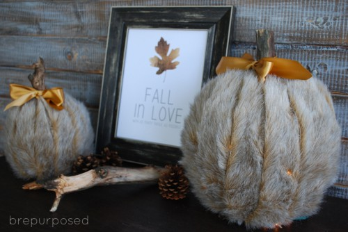 faux fur pumpkin (via shelterness)