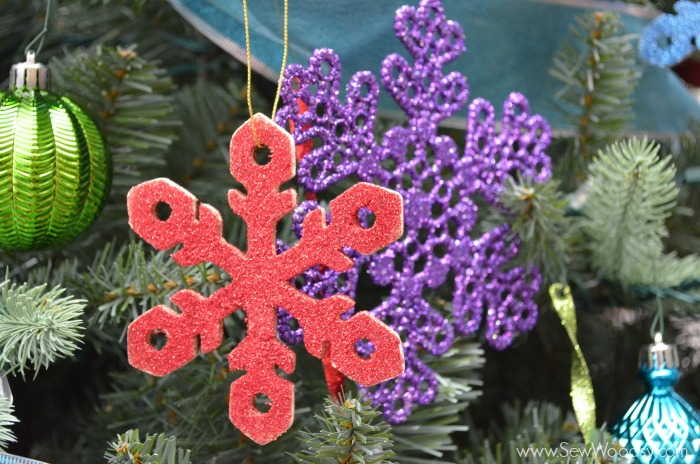 glitter wooden snowflake ornaments