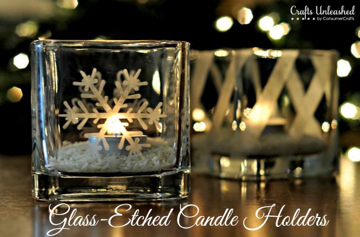 etched snowflake votives