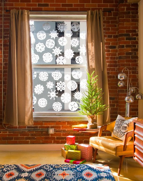 coffee filter snowflakes (via mom)