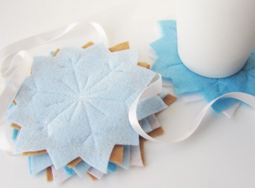 felt snowflake coasters (via billiemonster)