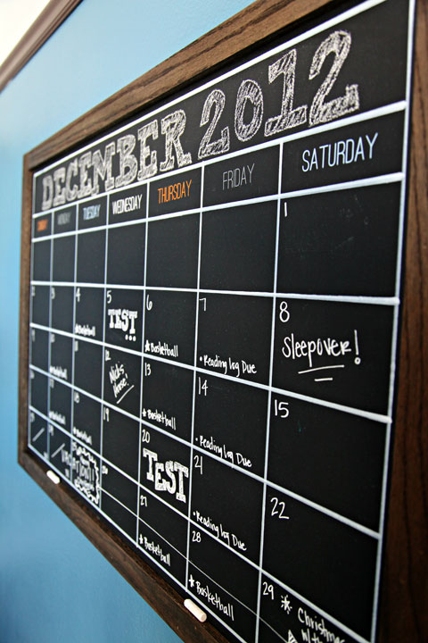 Framed Wall Calendar 10 functional diy chalkboard calendars - shelterness