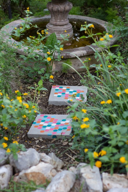 Funny And Colorful Diy Stencil Stepping Stones Shelterness