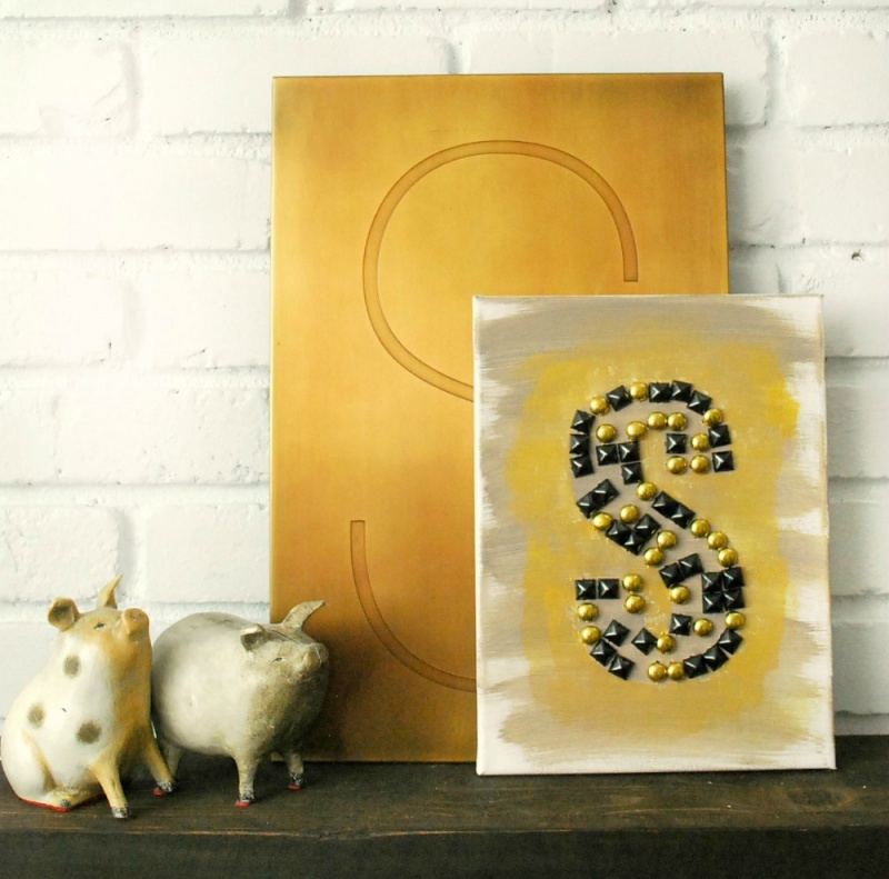 Picture Of glamorous diy studded monogram canvas  1