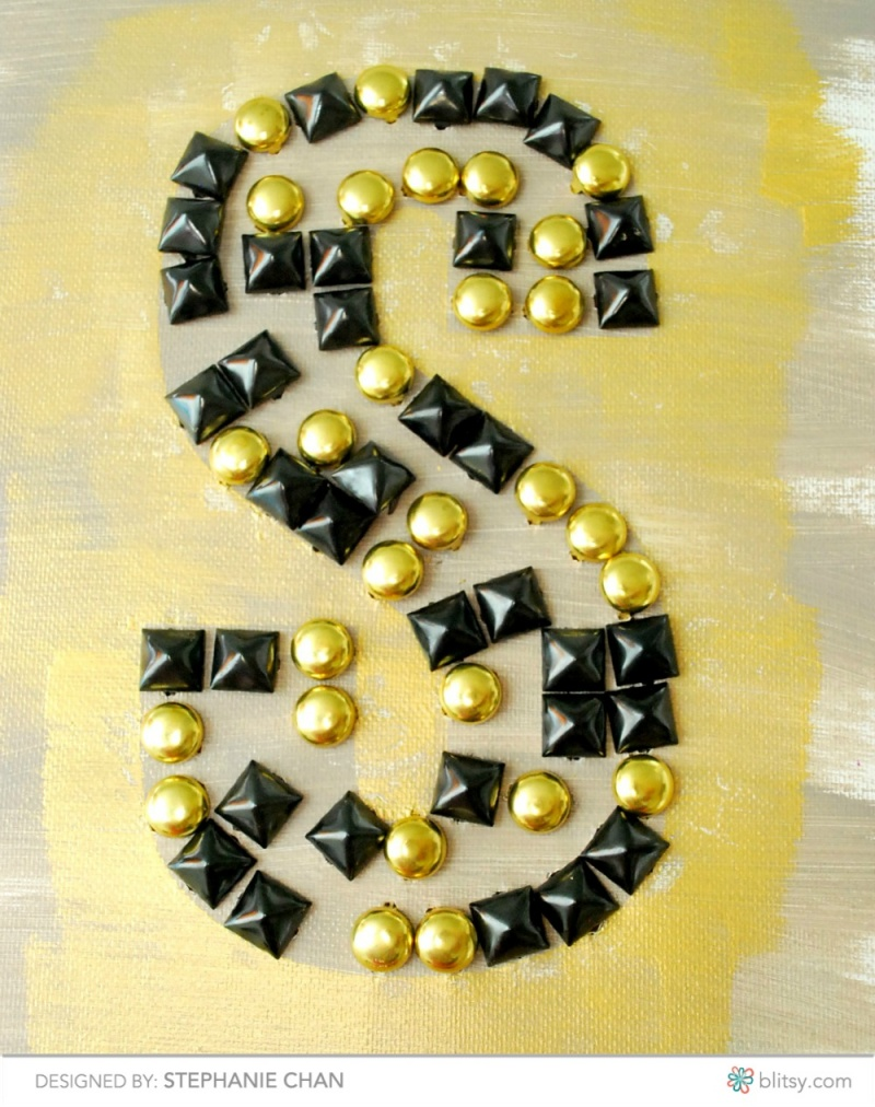 Picture Of glamorous diy studded monogram canvas  7