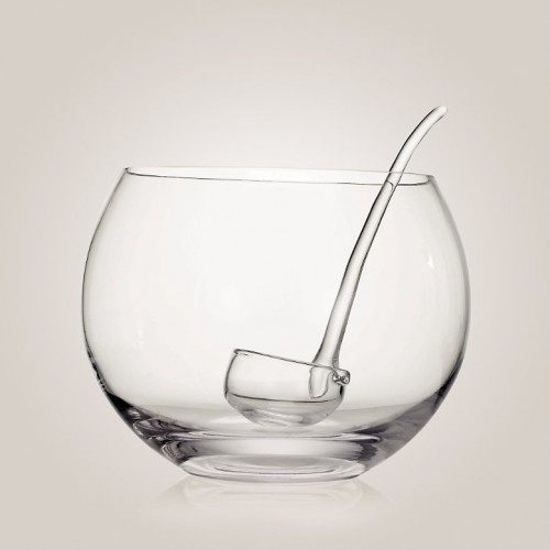 Transparent Glass Punch Bowl To Serve Christmas Punch Or Egg Nog