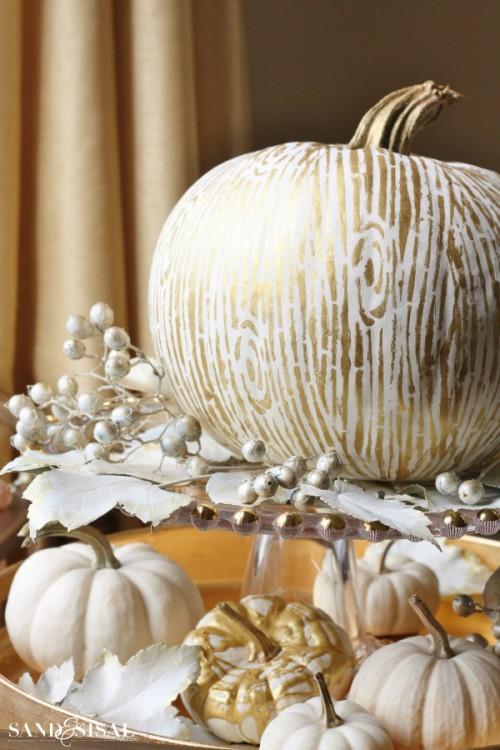 gilded faux bois pumpkin (via sandandsisal)