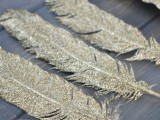 gold glitter feathers