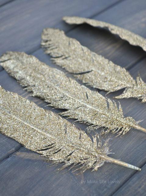 Gold Glitter Feathers Via Makelifelovely