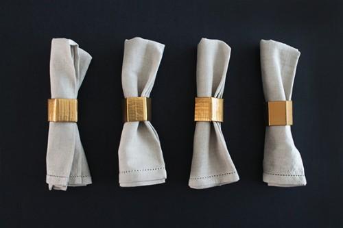 gold geo napkin rings (via almostmakesperfect)
