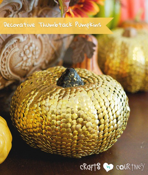gold thumbtack pumpkins (via craftsbycourtney)