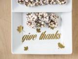 gold Give Thanks platter