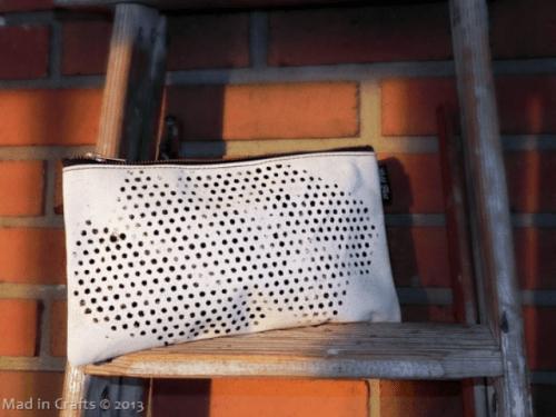 stenciled polka dot clutch (via shelterness)