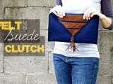 felt and suede clutch