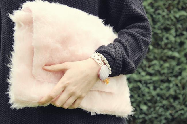 pink teddy fur clutch