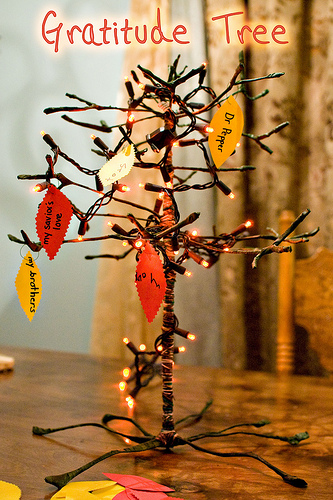 Gratitude Tree From Christmas Lights