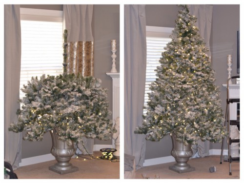 Grab an outdoor urn. Spray paint it into some metallic color. Prepare a piece of PVC pipe to support the tree. Mix a bag of concrete and pour it into the urn. Put the pipe in the middle and let the concrete dry. You'll get yourself a very stable and stylish base for your Christmas tree (via awelldressedlife)