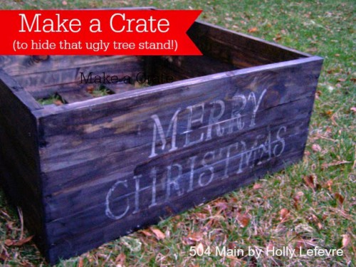 To make this rustic tree stand you'll need some wood, some stain and sponge paintbrush. (via 504main)