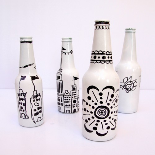 patterned wine bottles (via creativejewishmom)