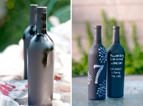 chalkboard wine bottle table numbers (via baysidebride)