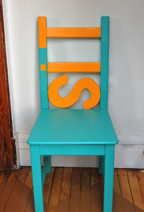 colorful IKEA chair hack