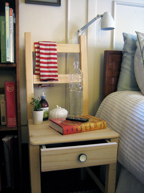 IKEA chair to a bedside table (via shelterness)