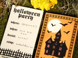 a bold black castle with bats party invitation with Gothic printing is a stylish idea