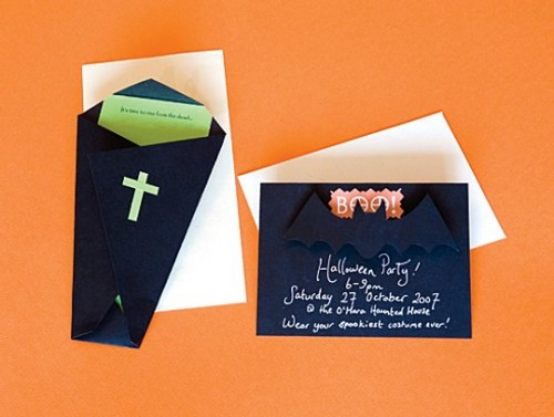 a black party invitation with a bat, a black coffin-shaped invite with green and orange touches