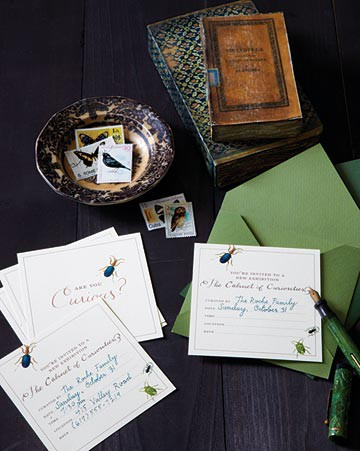 creative bug invitations in green envelopes are nice for Halloween - not too scary and very chic