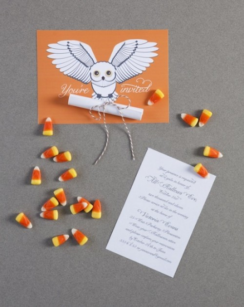 Hogwarts-styled Halloween party invitation with an orange owl envelope and candy corns