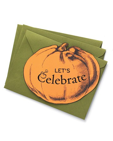 green envelopes with orange pumpkins are nice and bold and feel like Halloween
