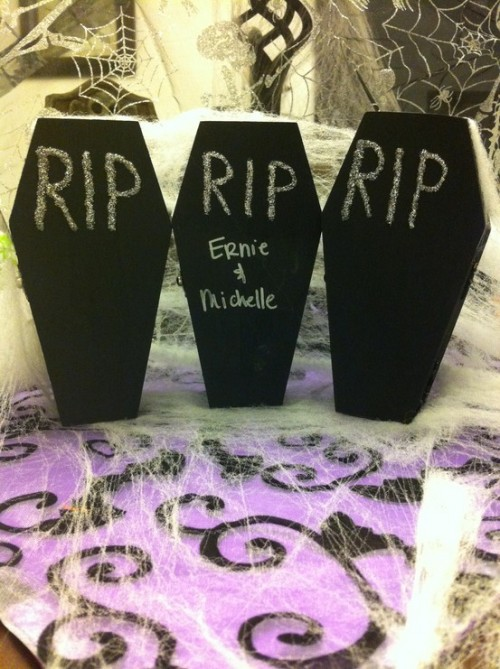black coffins are bold party invitations, you may put candies inside and add invite information there
