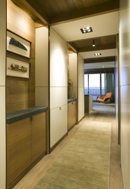 Thoughtful storage is very important for small hallways.