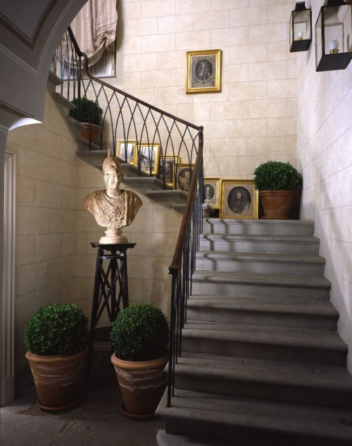 Faux greenery is also a more than welcome additional as to a staircase as to a hallway
