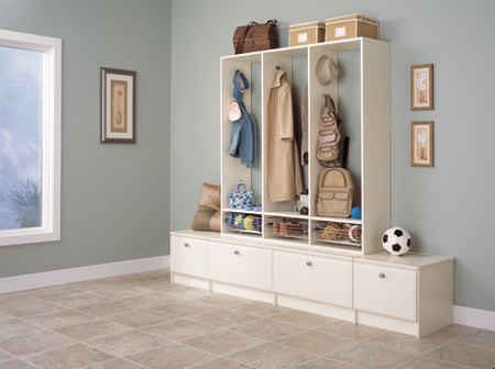 modern hallway storage bench solution