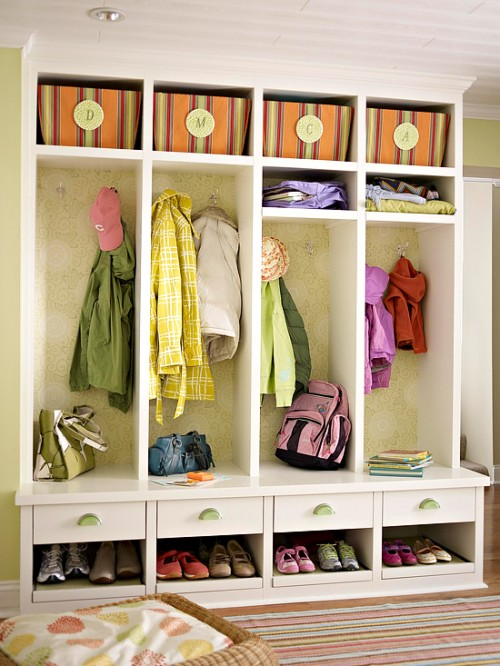 practical mudroom bench with closet solution