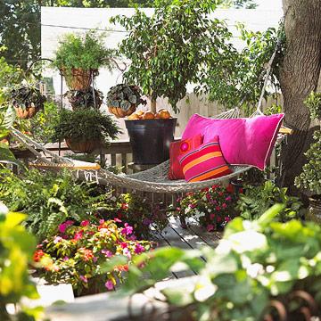 Hammock In A Backyard