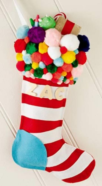 Picture Of Kids Pom Pom Christmas Stocking