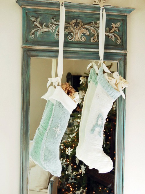 No-Knit Christmas Sweater Stockings (via hgtv)