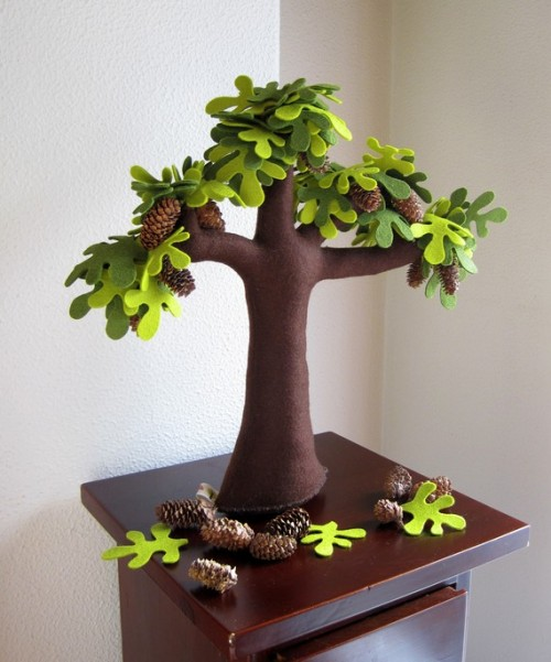 Handmade Felt Trees To Substitute Real Plants