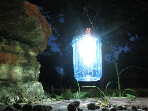 solar lights of mason jars