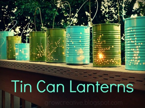 tin cans lanterns