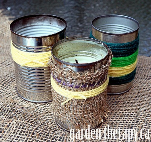 yarn candle holders of tin cans