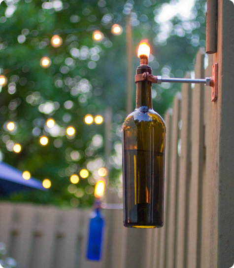 wine bottle lamps (via myhomelifemag)