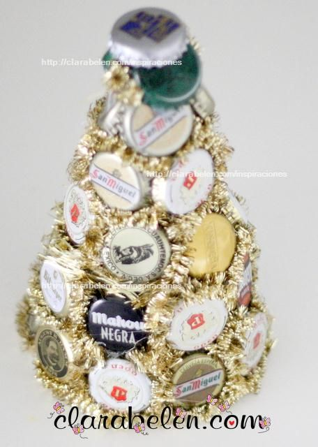 Handmade Tabletop Christmas Tree Of Beer Lids