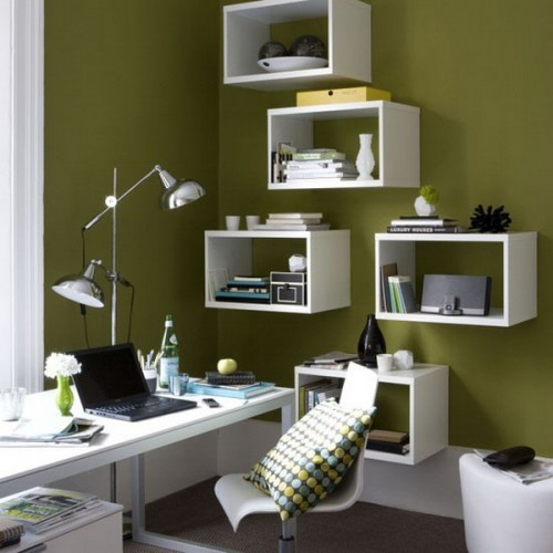 Wall-mount storage cubbies allow to see a wall behind them and provide display space as inside them as on them.