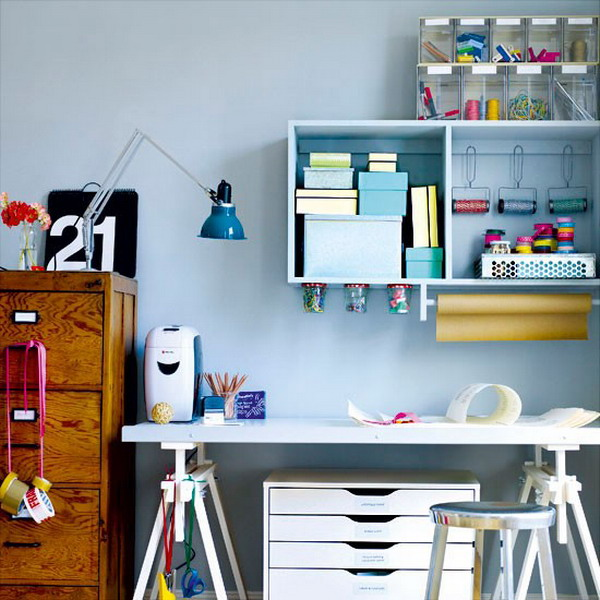 Hangin Storage Blocks For A Home Office | Shelterness