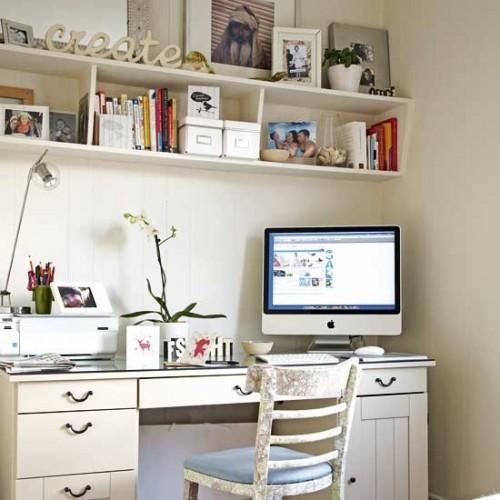 A cozy corner with a hanging shelving unit and a desk with a bunch of drawers usually are more than enough for a fully functional home office.