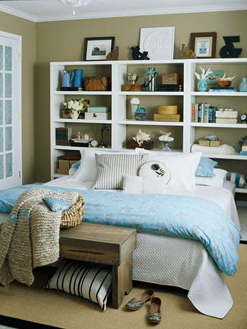 Headboard Of Three Inexpensive Bookcases